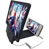 JiangZhu 3D HD Mobile Phone Screen Enlarge Magnifier Movies Amplifier with Practical Phone Bracket Stand Holder for iPhone 6/6plus/5/5S/5C, Samsung, Android and more Smart Phones (Black(With Speaker))
