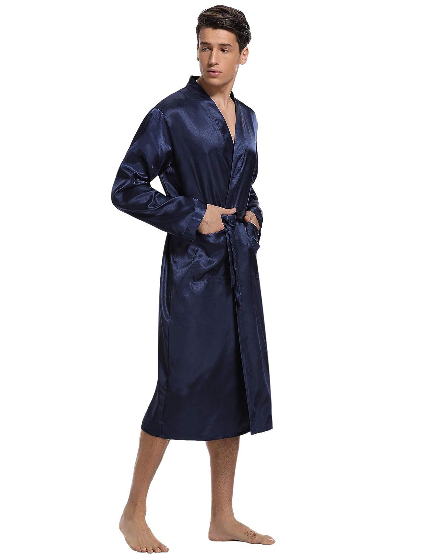 Uomo Vestaglia Lunga in Raso con Cintura Camicia da Notte per Spa Casa Hotel Aibrou Elegante Vestaglia da Uomo