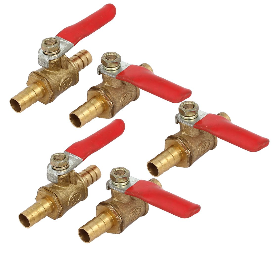 180 Degree Operation Handle 5 Pcs uxcell 6mm Brass Barb x Barb Mini Ball Valve