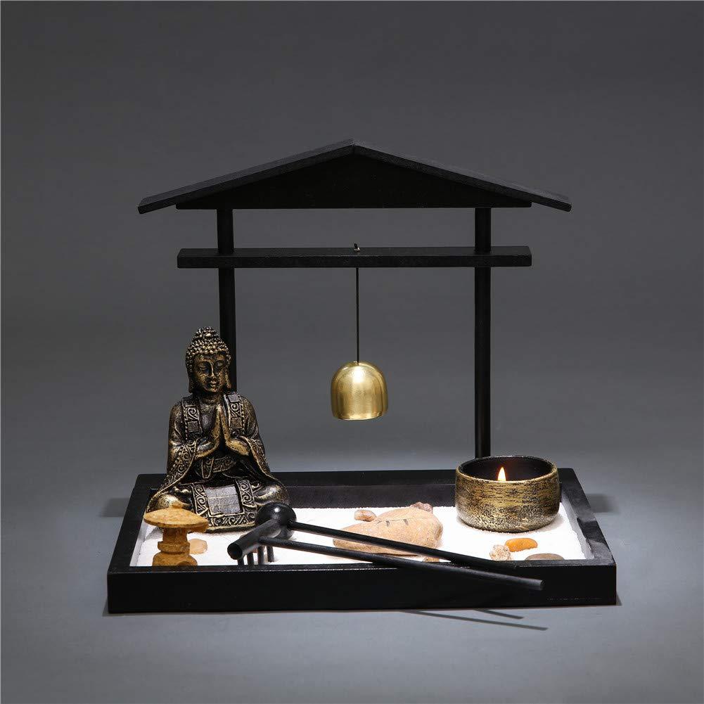 rastrello Idea Regalo Art d/éco Grey Prime Feng Shui Zen Garden Buddha Statuette Mini Campana Kit da Giardino con Rocce di Sabbia Torre portacandele