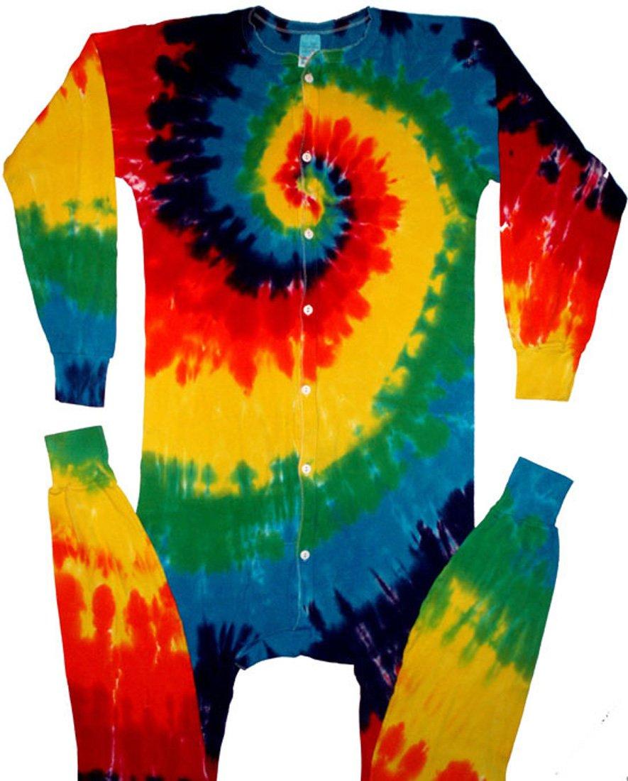 Classic Rainbow Spiral Tie Dye Union Suit Underwear-2X-Tall-Multicolor