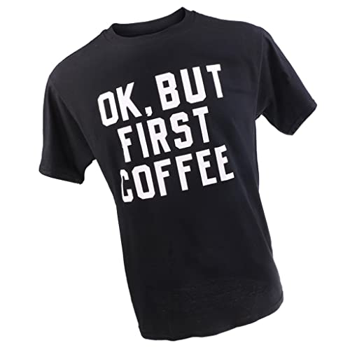 Gazechimp Camisa Graciosa de Mujeres Impreso con OK But First Coffee T-Shirt de camiseta alta divert...