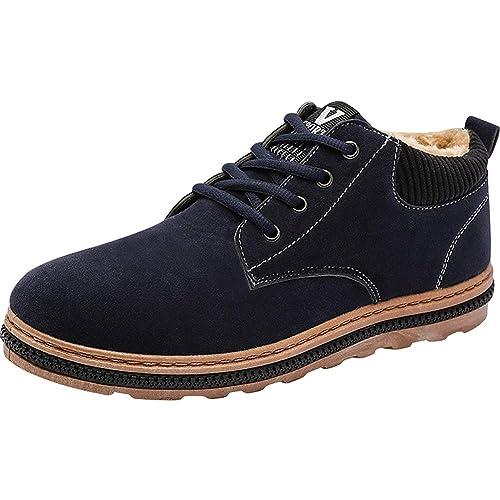 5bd4ce7f841 wealsex Chaussures de Ville Homme Daim Noir Bleu Marron Doublure Fourrure  Hiver(Bleu