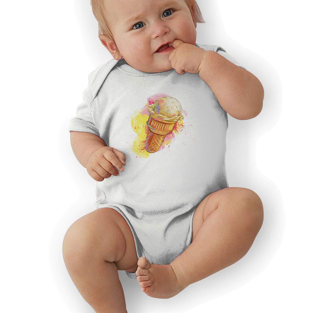 Infant Baby Girls Bodysuit Short-Sleeve Onesie Ice Cream Print Jumpsuit Summer Pajamas