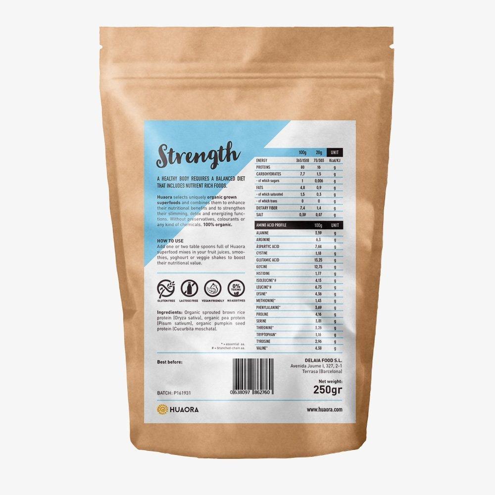 Huaora Strength - Proteína de arroz integral, proteína de guisante y proteína de semilla de calabaza | Proteínas Vegetales Orgánicas en Polvo | Sin Gluten y ...
