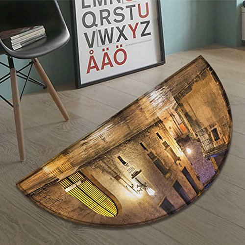 haommhome Gothic bath mats for floors Gothic Ancient Stone Quarter of Barcelona Spain Renaissance Heritage Night Street Photo door mat indoors Bathroom Mats Half Moon Non Slip Cream size:31.5''x19.7'' by haommhome
