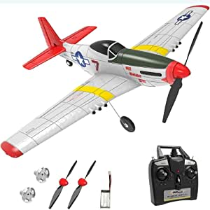 Mopoq Rc Plane 4 Channel Remote Control Airplane Ready to Fly Rc Planes for Adults,Advanced Rc Foam Airplane,Remote Control War Plane P51 Mustang Upgraded with Propeller Saver
