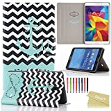 Galaxy Tab 4 8.0 Case, Dteck(TM) Slim-fit Fashion Vintage Pattern PU Leather Case with [Auto Sleep/Wake Feature] Hard Back Cover for Samsung Galaxy Tab 4 8.0 Inch SM-T330 (01 Chevron Waves)