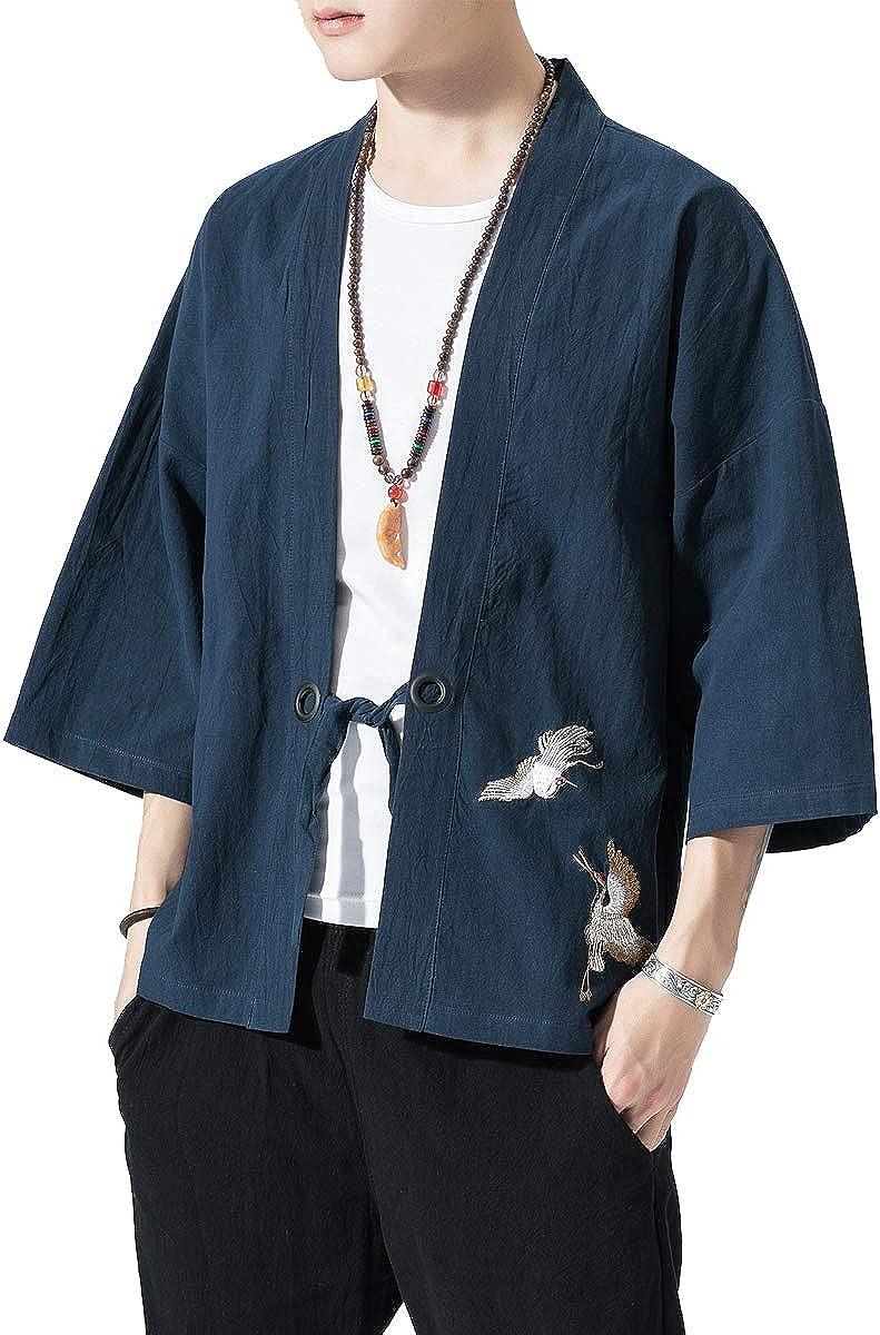 BLFGNCOB Kimono Chaqueta Bordada Estilo japon/és Tres Cuartos Manga Suelta Yukata