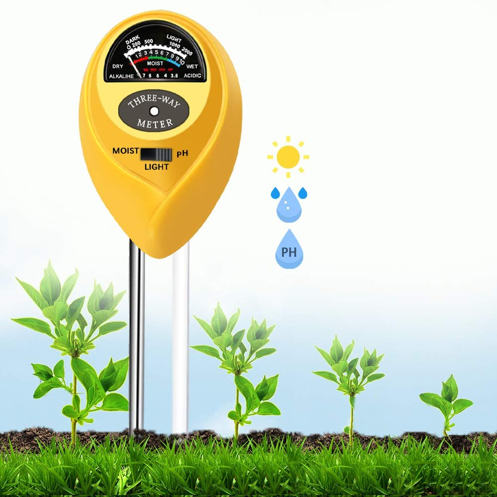 Soil pH Meter, 3-in-1 Soil Test Kits pH Moisture Meter Plant Water Light Tester, Great for Garden and Home, Lawn, Plant, Farm of Gardening Tools (No Battery Needed)
