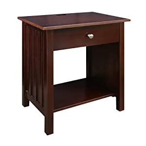 Casual Home 360-23 Vanderbilt Nightstand with USB Ports-Espresso