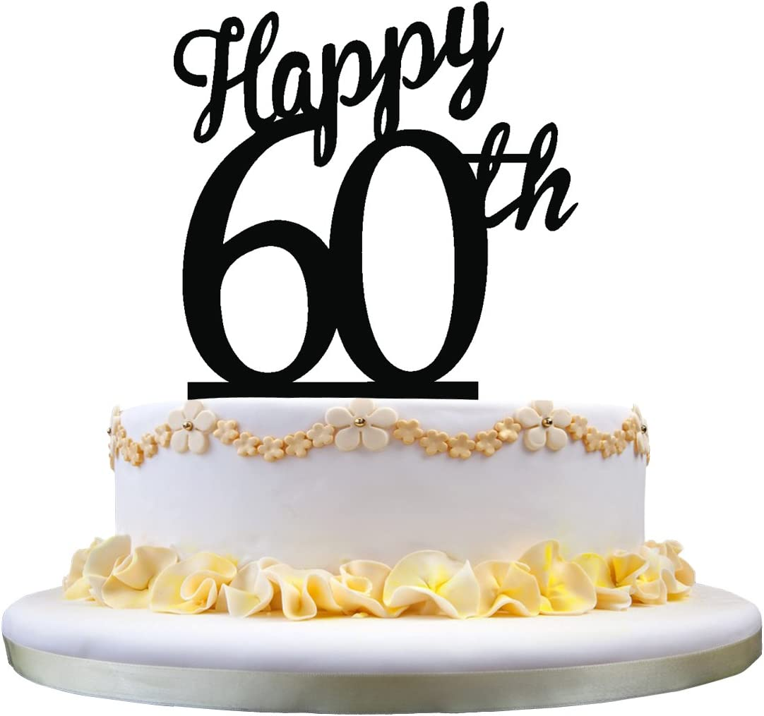 Groovy Acrylic Happy Birthday Cake Topper 60Th Birthday Cake Decoration Personalised Birthday Cards Paralily Jamesorg