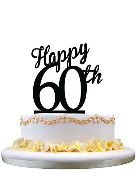 Acrylic Happy Birthday Cake Topper 60th Decoration Amazoncouk Kitchen Home
