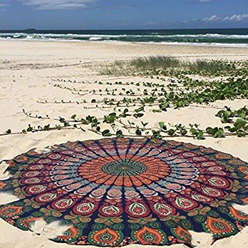 Raajsee Round Beach Tapestry hippie/ Boho Mandala Beach Towel Blue Orange/ Indian Cotton Bohemian Round Table cloth Mandala Decor /Yoga Mat Meditation Picnic Rugs 75 inch Circle  (Cloth Mandala)
