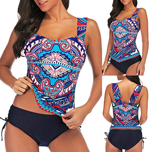 Outeck Women Fashion Two Pieces Swimsuit Ethnic Printed Shoulder Strap Belly Off Skirted Tankini Tie Side Bottom (2XL, Blue)