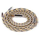 YYX4872 mmcx ケーブル 3.5mm ストレート 銀メッキケーブル イヤホンケーブル shure ケーブル 16芯 mmcx ケーブル 音質改善 高級交換用 3.5mm ケーブル YINYOO HX4 YQ10 HQ10 HQ12 MAGAOSI K5 YINYOO H5 smabat ST10 KINERA Bd005E SHURE SE215 SE846 SE425 SE535 SE315 LZ A6 NW-WM1Z NW-WM1A ZX300 UE900 W10 W50 W60 HA-FX850 HA-FX1100 XBA-Z5 XBA-A3 SEMKARCH SKC-CNT1 intime 煌 轟 等に対応 (mmcx・3.5mmプラグ)
