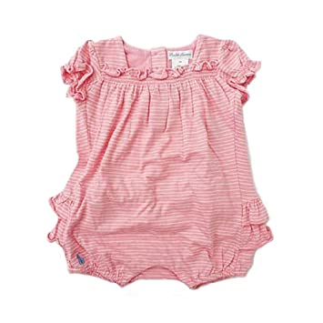 2e4e5c5e Amazon.com: Polo Ralph Lauren Layette Girls Striped Ruffle Bubble ...