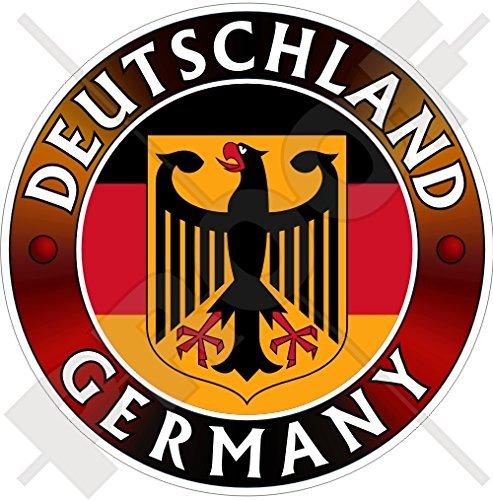 "GERMANY DEUTSCHLAND Flag-Coat of Arms German Eagle, Deutsch 100mm (4"") Vinyl Bumper Sticker, Decal"