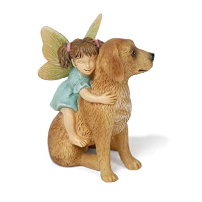 "Miniature Fairy Garden ""Ready for a Ride"" Fairy Girl with Dog: Garden & Outdoor"