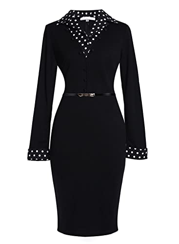 Meikeerr Women's Black Workwear Long Sleeve Business Suit Party Pencil Office Dress