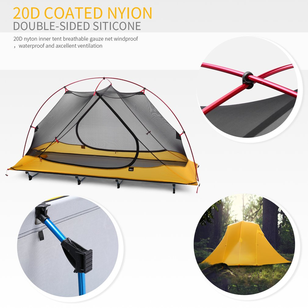 OUTAD Camping tents 15D nylon double-sided silicone tents Portable Multifunctional Off Ground Tent by OUTAD (Image #5)