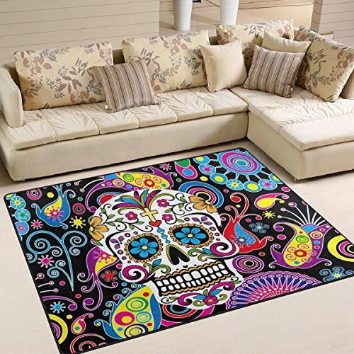 Naanle Floral Skull Area Rug 5'x7', Colorful Paisley Flower Polyester Area Rug Mat for Living Dining Dorm Room Bedroom Home Decorative