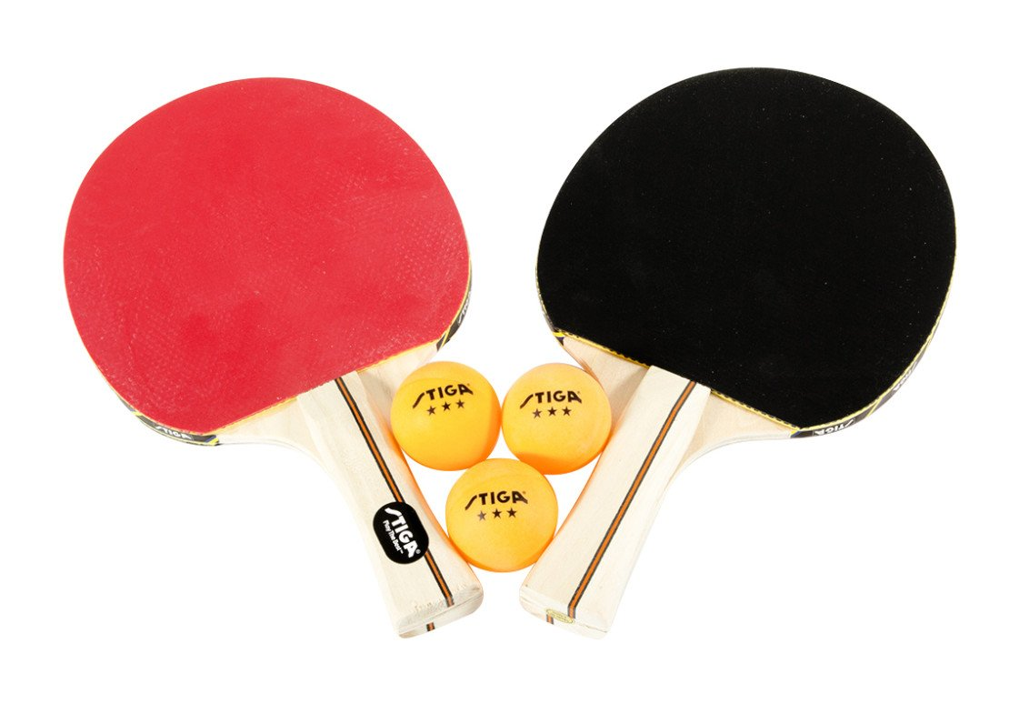 STIGA Performance 2-Player Table Tennis Set Includes Two Rackets and Three 3-Star Balls