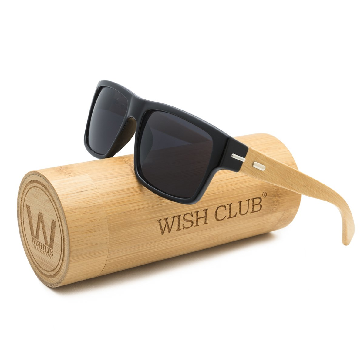 WISH CLUB Wood Square Handmade Sunglasses UV 400 Lenses Classical Style for Women and Men Adults Wooden Bamboo Vintage Light Retro Glasses (Grey) by WISH CLUB
