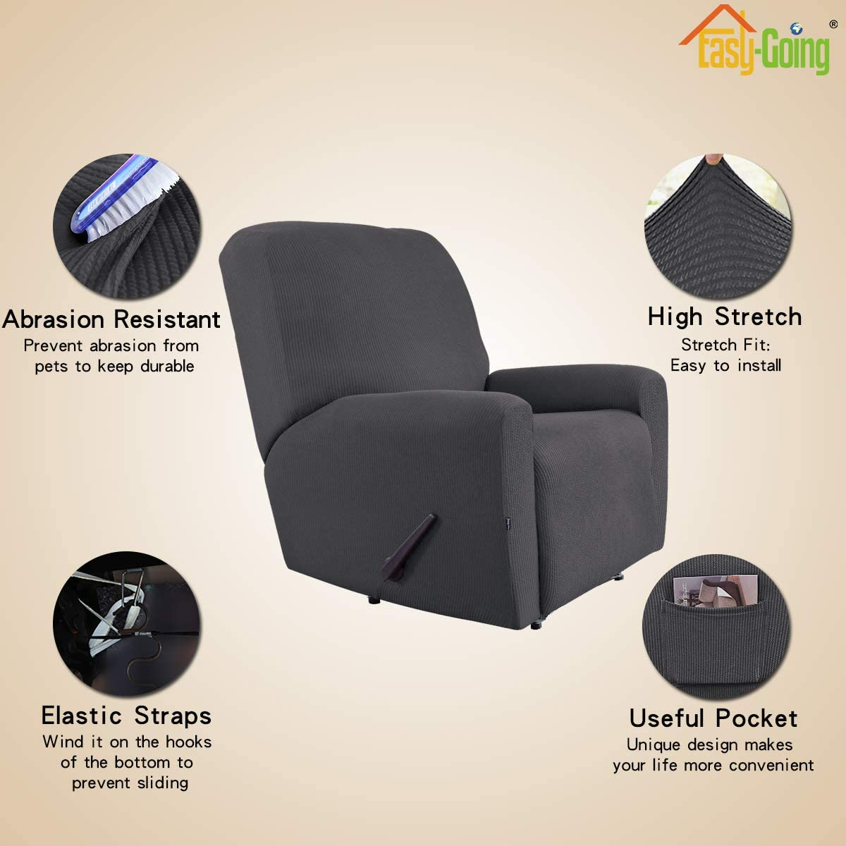 Easy-Going Thickened Recliner Stretch Slipcover Furniture Protector with Elastic Bottom Recliner,Black Pets,Kids,Children,Dog,Cat Sturdy Fabric Slipcover Sofa Cover 4 Pieces Couch Shield
