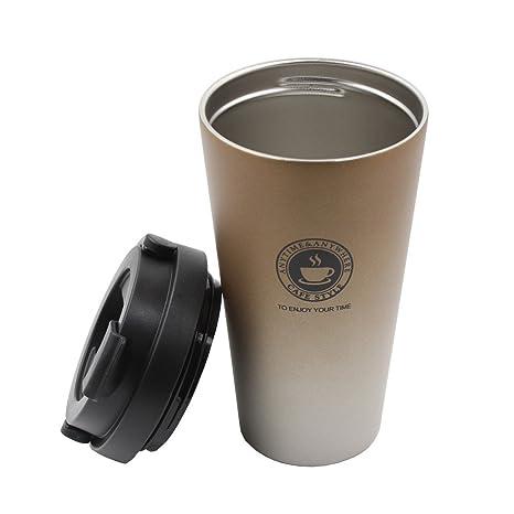 Portátil Taza de café de acero inoxidable con tapa, Autbye Doble pared con aislamiento al vacío Vaso de viaje para el agua diaria, Leche, bebidas, ...