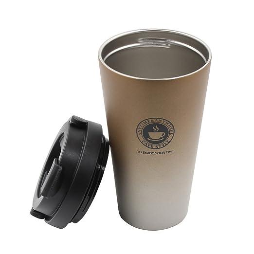 Portátil Taza de café de acero inoxidable con tapa, Autbye Doble ...
