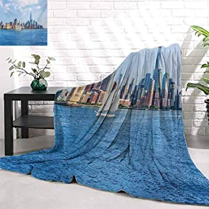 Luckyee Sailboat,Manhattan Skyline New York Sunshine USA Clear Sky Tower Skyscraper Photography,Blue Grey Baby Soft Warm Sleeping Blanket W80 x L70 Inch