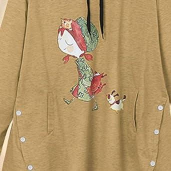 Qikoup Damska Kapuzenpullover Frau Lange Ärmel Nettes Karikaturmädchen Gedruckt Mit Kapuze Sweatshirt Winter Sweat Herbst Tops Hoodie: Odzież