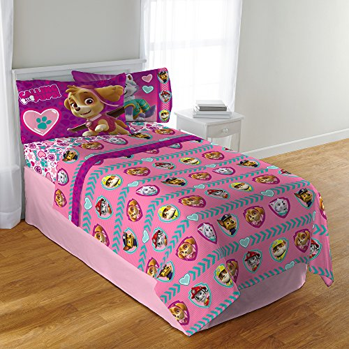 CA 3 Piece Girls Pink Paw Patrol Sheet Set Twin Sized, Cute Teal Blue Puppy Bedding Dogs Skye Sweetie Marshall Rubble Pattern Purple Yellow Gray, ()