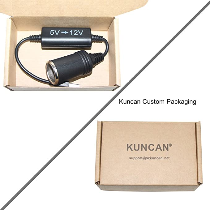 aspiradora UTSAUTO Cable adaptador hembra de 0,8 m de longitud 5 V USB a 12 V para encendedor de cigarrillos de coche etc. grabadora de conducci/ón