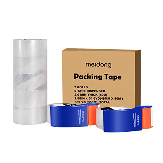 Packing Tape, Meidong Shipping Tape with Dispenser for Packing Moving Supplies Clear Strong Heavy Mailing Duct Tape(7 Rolls 2 Dispenser 1.88 Inches x 54.6 Yards/50m)