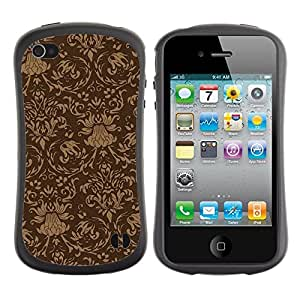 Fuerte Suave TPU GEL Caso Carcasa de Protección Funda para Apple Iphone 4 / 4S / Business Style Wallpaper Vintage Pattern Brown Design