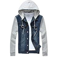 Lavnis Men's Denim Hoodie Jacket Casual Slim Fit Button Down Jeans Coat