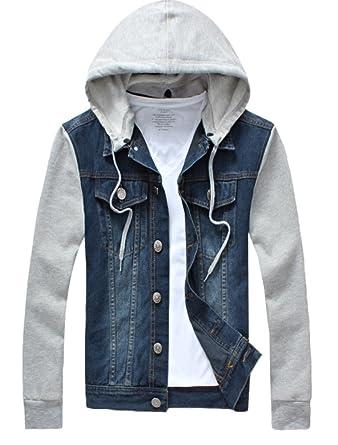 3d54869952a Lavnis Men's Denim Hoodie Jacket Casual Slim Fit Button Down Jeans Coat  Dark Blue XS