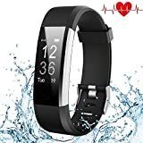 Fitness Tracker, Kybeco Elegant Waterproof Heart Rate Monitor Activity Tracker Bluetooth Wearable Wristband Wireless Step Counter Smart Bracelet Watch for Android and IOS Smartphones (Black)