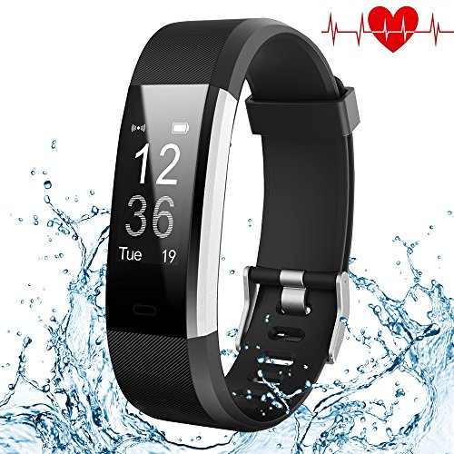 Kybeco Fitness Tracker, Elegant Waterproof Heart Rate Monitor Activity Tracker Bluetooth Wearable Wristband Wireless Step Counter Smart Bracelet Watch for Android and iOS Smartphones (Black)