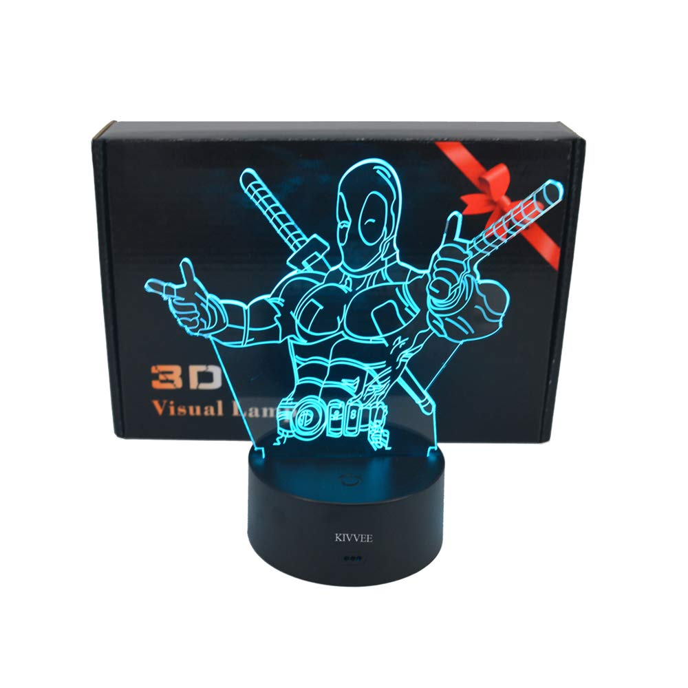 3D Desk lamp Acrylic Deadpool Night light 7 color change Furniture Decorative colorful gift household Accessories Boy Toys
