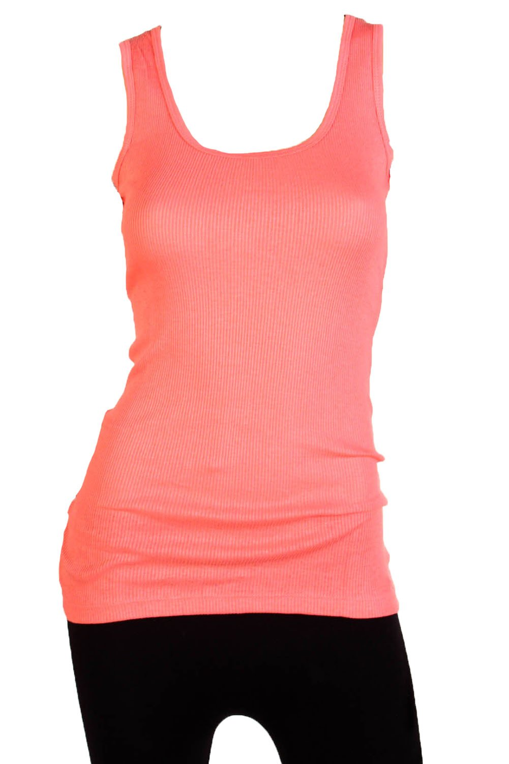 04233e9c4cdd3 Galleon - Sofra Women s Tank Top Cotton Ribbed-XL-Coral