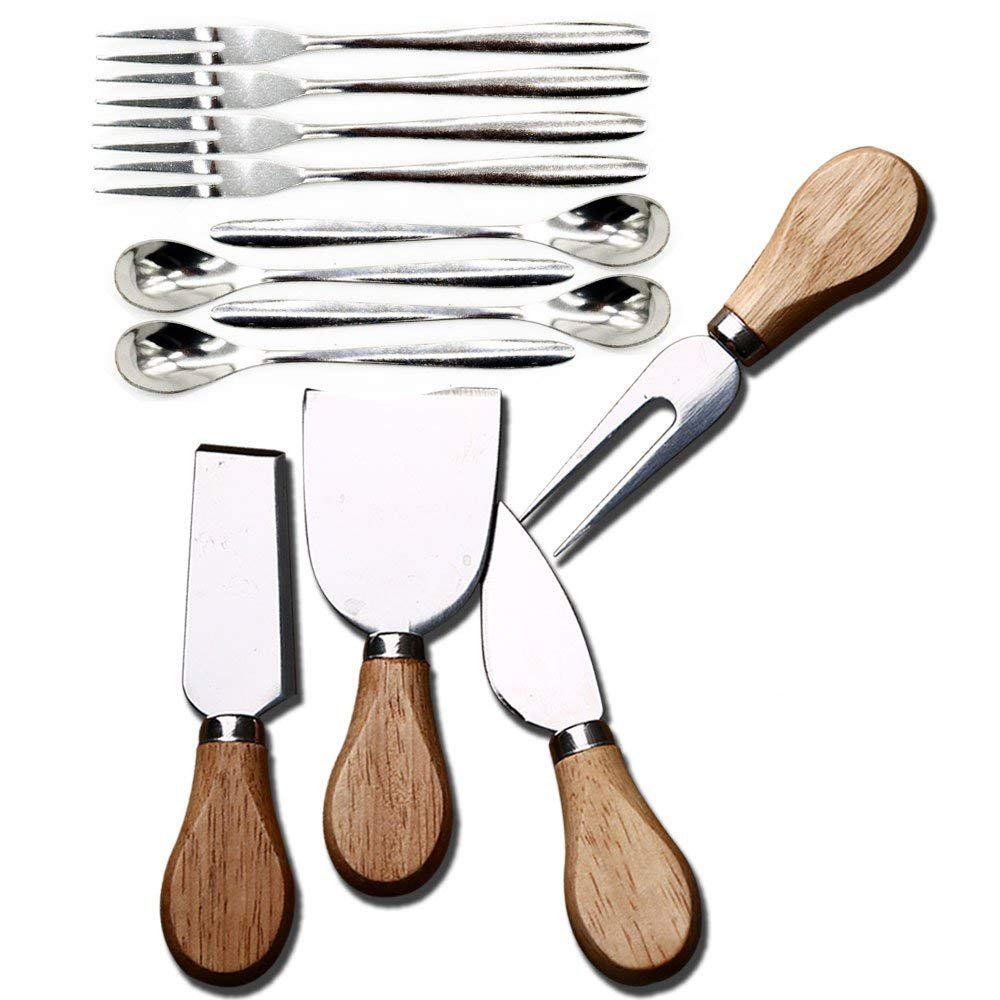 [12Pcs/Pack]4 Pcs Set Cheese Knives with Wood Handle Steel Stainless Cheese Slicer Cheese Cutter & 4 Psc fruit fork & 4 Psc coffee spoon
