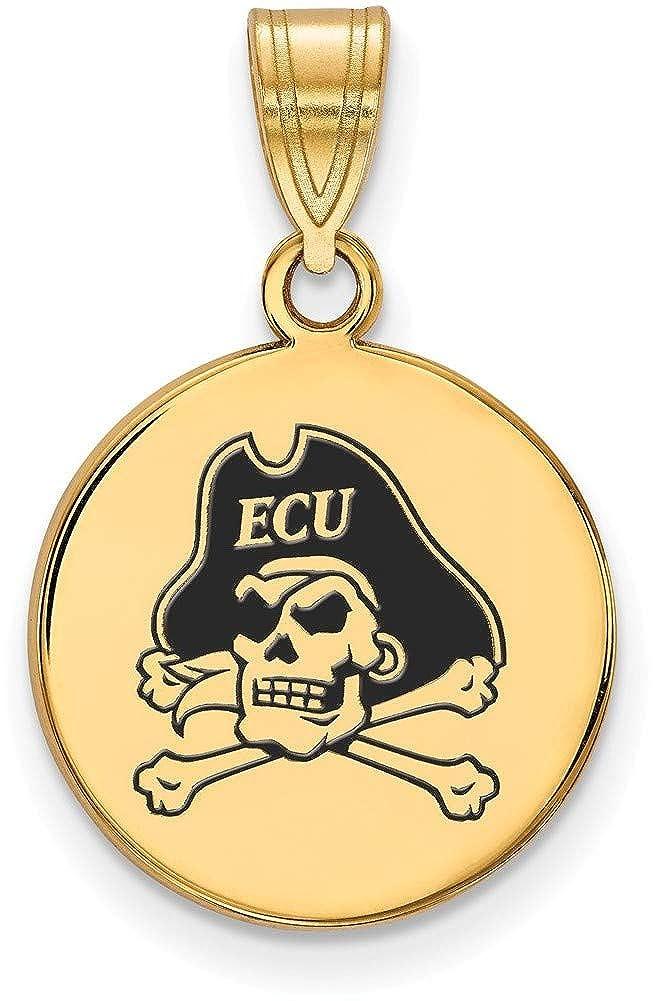 Gold-Plated 925 Silver East Carolina University Medium Enamel Pendant LogoArt