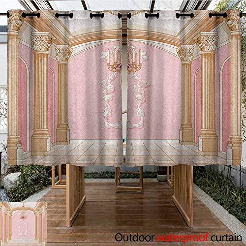 Indoor/Outdoor Curtains,Princess,Interior of The Ballroom Magic Castle Chandelier Ceiling Columns Kingdom Print,Simple Stylish,K183C183 Rose Peach