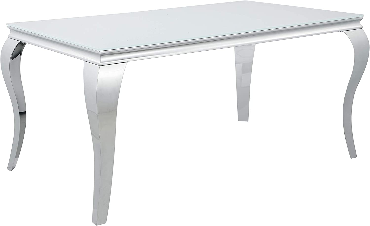Coaster Home Furnishings Carone Glass Top White and Chrome Dining Table