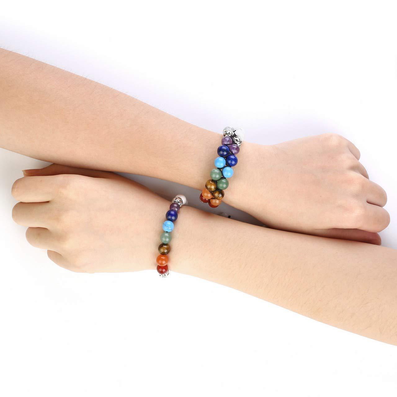 Top Plaza 7 Chakra Bead Bracelet Reiki Healing Crystals Yoga Stone Anxiety Braided Couples Bracelets for Womens Mens