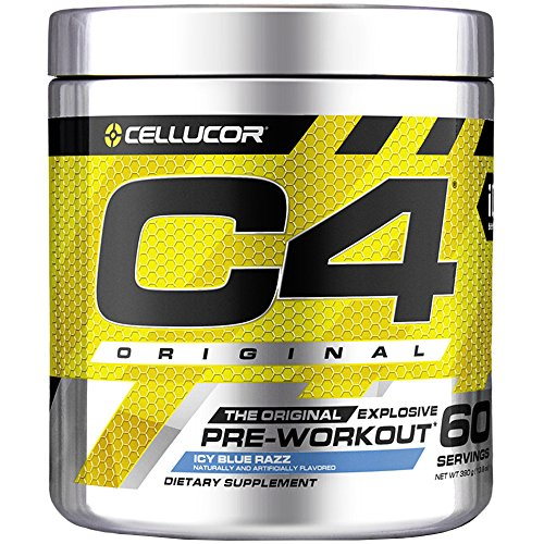 Cellucor C4 Original Pre Workout Powder Energy Drink Supplement For Men & Women with Creatine, Caffeine, Nitric Oxide Booster, Citrulline & Beta Alanine, Icy Blue Razz, 60 Servings