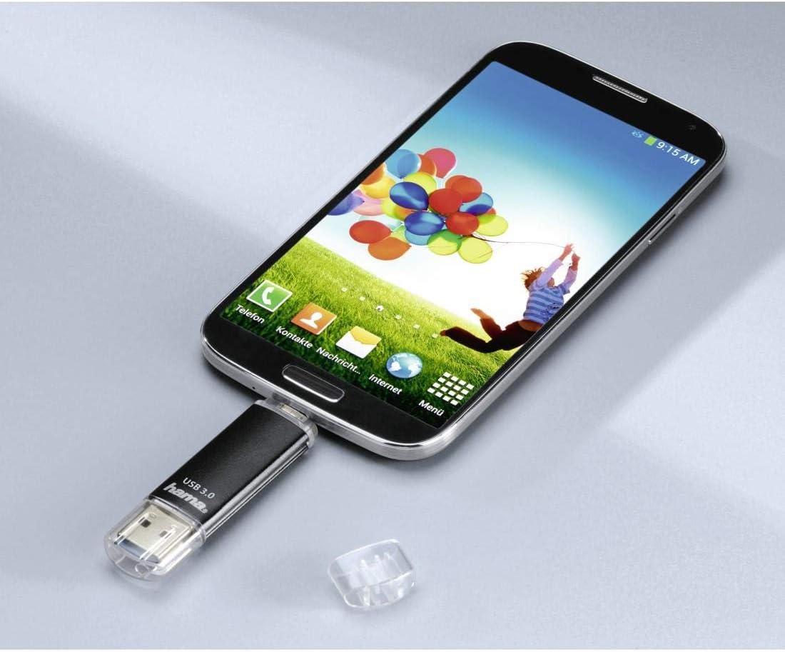 Gris FlashPen, OTG, aluminium, USB 2.0, jusqu/à 10 Mo//s, 128GB Hama Cl/é USB 2.0 Laeta Twin